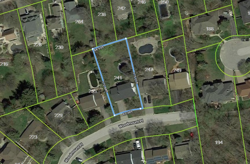 241 Woodmount Place, Newmarket - lot dimensions